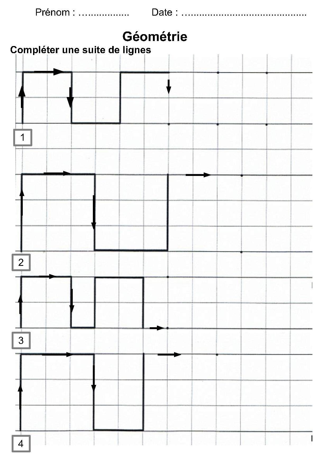 géométrie ce1, ce2, cm1, cm2,compléter une suite de lignes