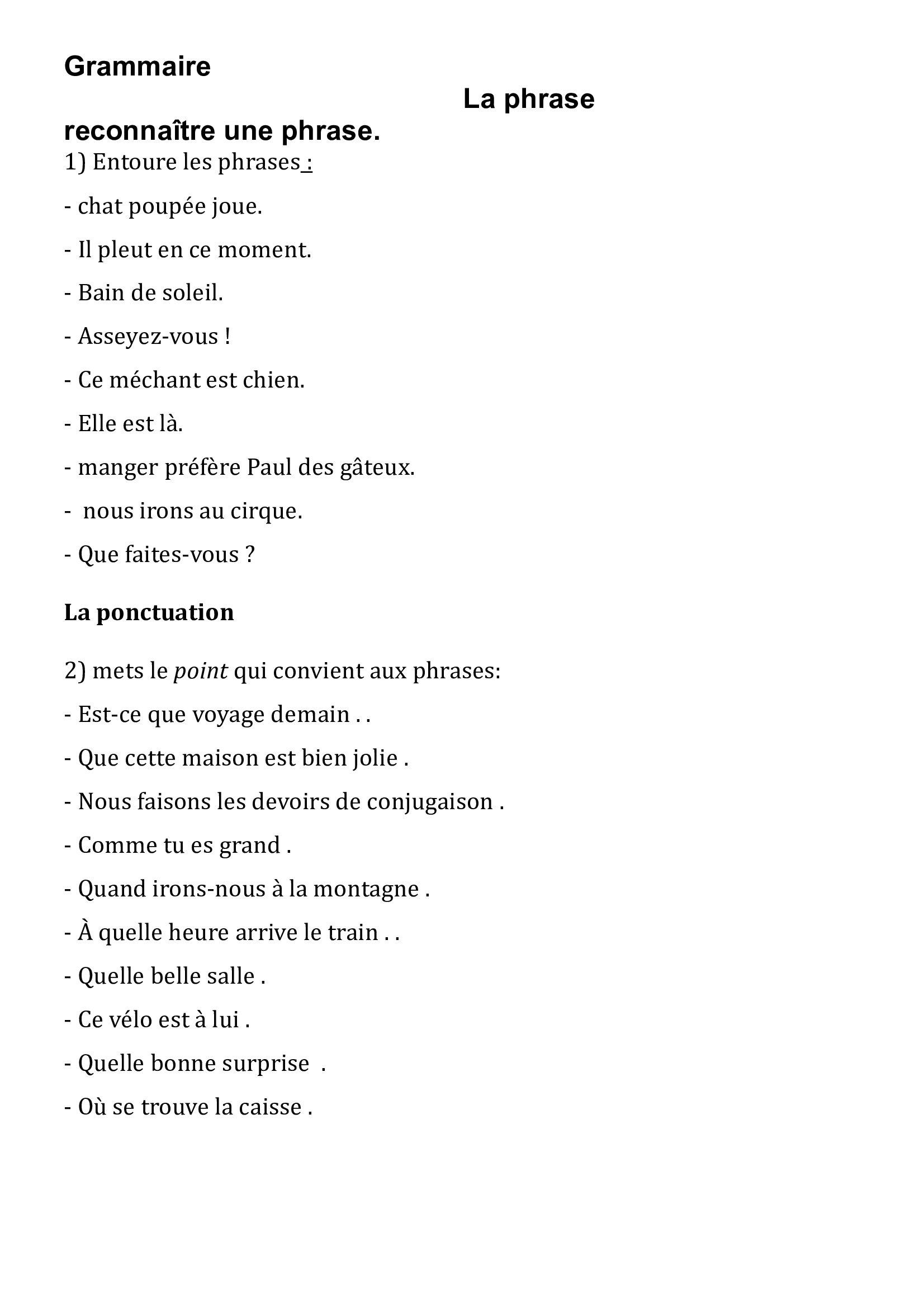 Connu Exercice » Exercices Phrases Ce2 - Ateliers Pour Les Enfants De  YT18