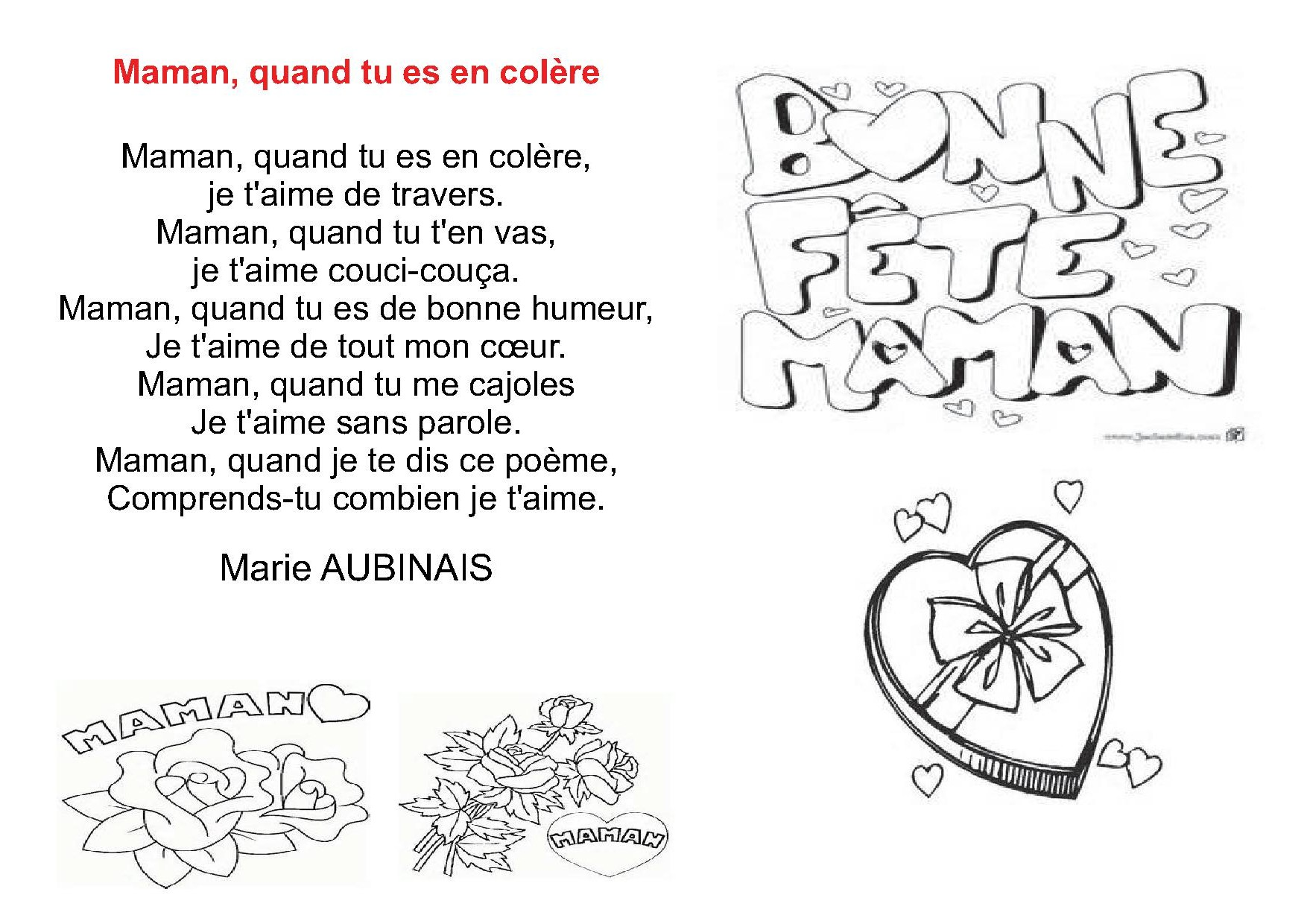 Poésies Poémes Pour Le Fête Des Mèresla Fête Des Mamans
