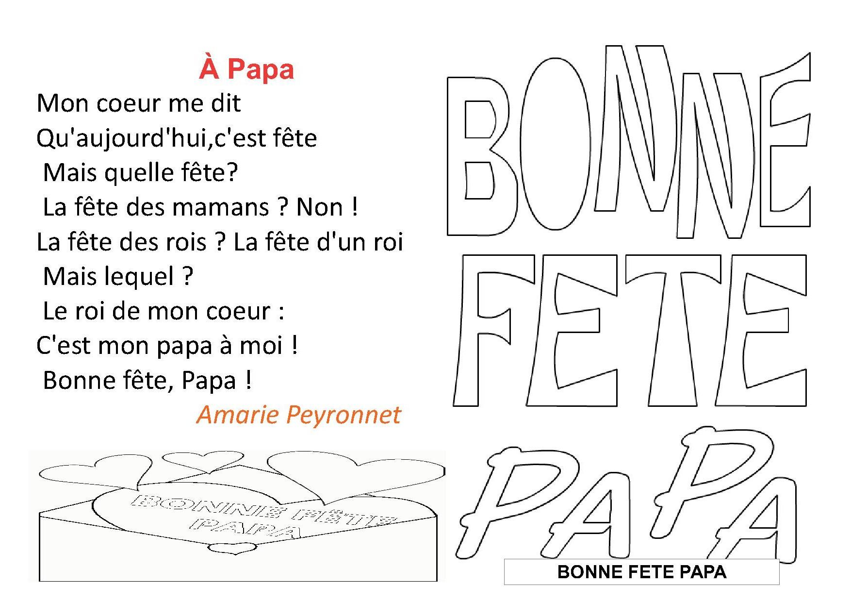 Poésies La Fête Des Pèresune Poésie Pour Les Papace2ce1