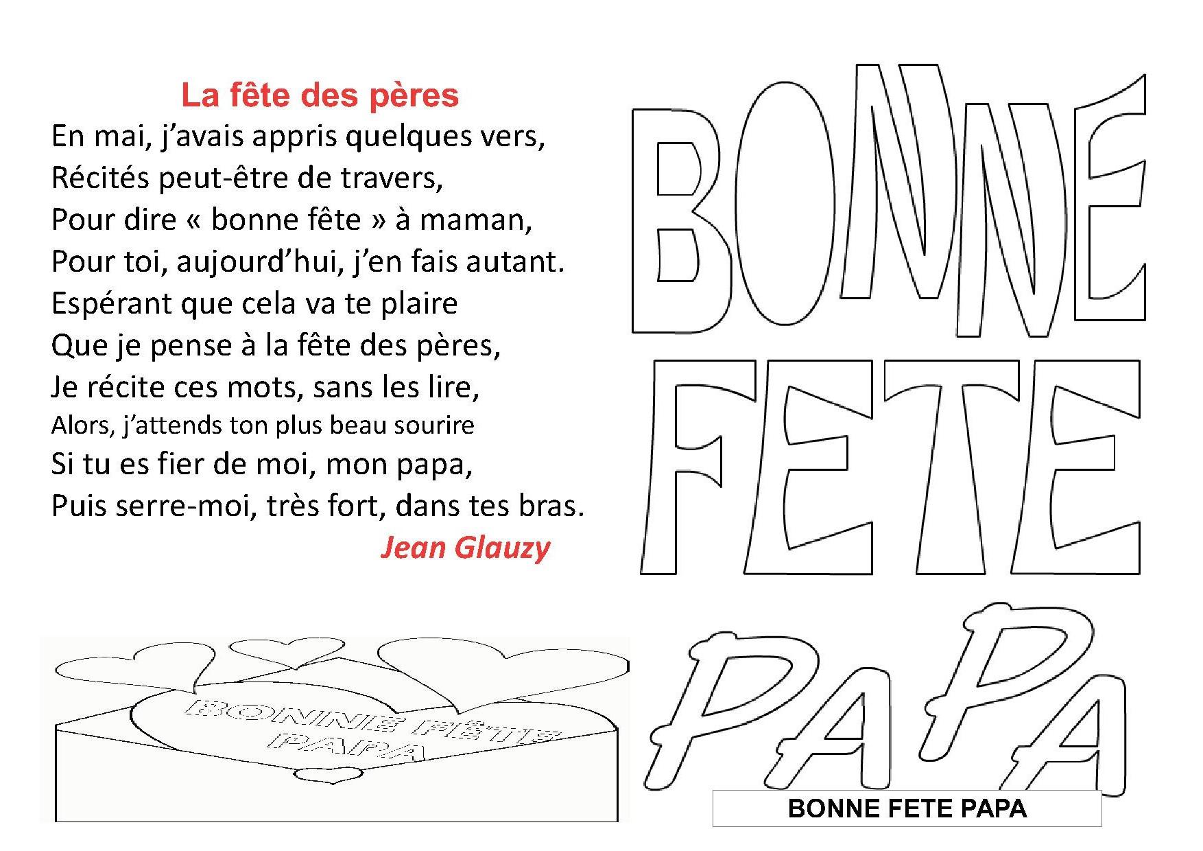 Poeme poemes fetes des peres ateliers pour les enfants de maternelle et d 39 ge pr scolaire - Poeme pour la fete des peres ...
